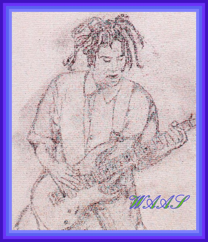 """Head"" pencil drawing of guitar player from group KoRn I threw this in for fun it's not for sale"