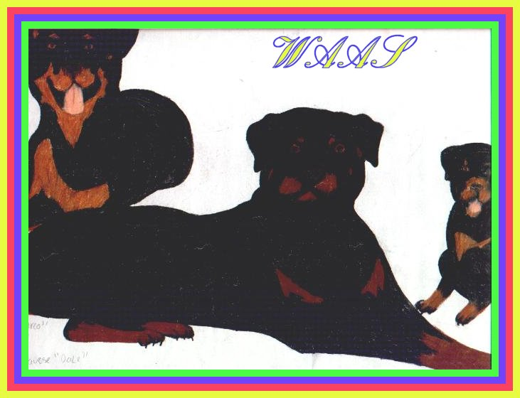 Rottie family colored pencil not for sale
